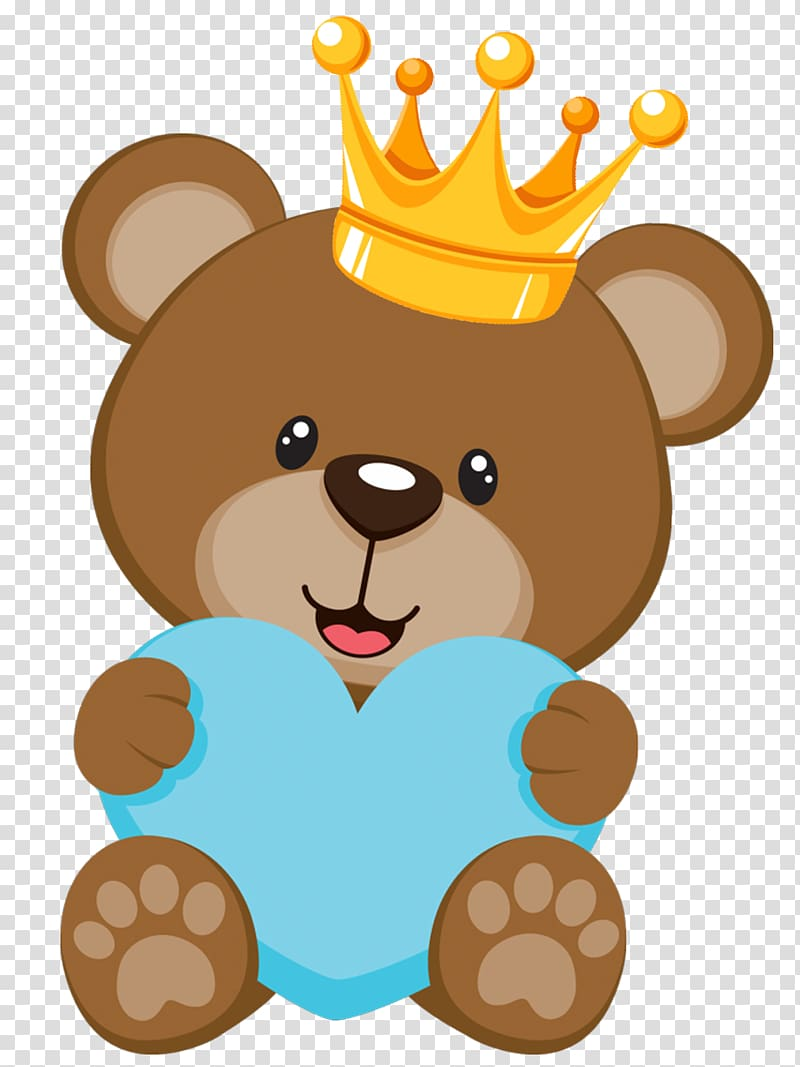 Teddy bear gender reveal clipart picture black and white Brown bear with yellow crown holding blue heart illustration ... picture black and white