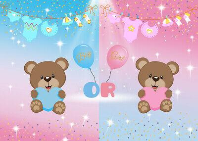 Teddy bear gender reveal clipart image library download LB Cute Teddy Bear Boy Or Girl Photography Backdrop Baby ... image library download