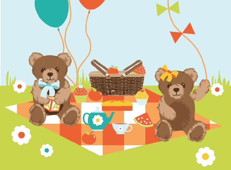 Teddy bear picnic clipart free picture free Teddy Bears Picnic Panel FF150/3 picture free