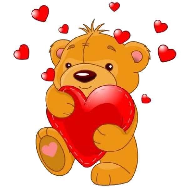 Teddy bear w apple clipart clip art black and white Cute-Bear-With-Red-Love-Hearts_1.png 600×600 pikseli | Na bloga ... clip art black and white