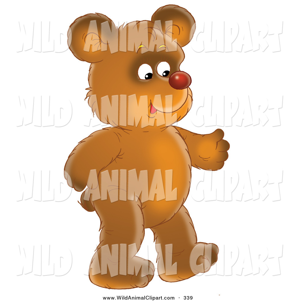 Teddy bear walking clipart image royalty free Clip Art of a Happy Brown Teddy Bear with a Red Nose ... image royalty free