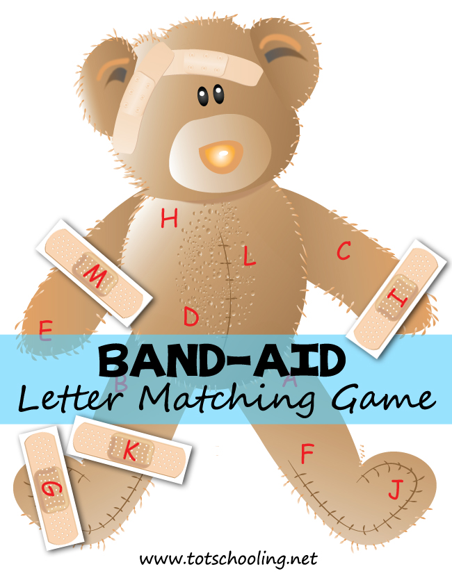 Teddy bear with band aid clipart black and white graphic free download Band-Aid Bear Alphabet Matching | Totschooling - Toddler ... graphic free download