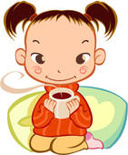 Tee trinken clipart clip transparent stock Clip Art of pupil, young girl, childhood, 6-13years old, winter ... clip transparent stock