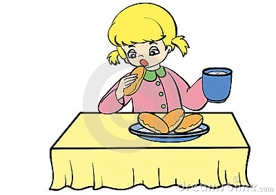Teen breakfast clipart black and white download Girl Eating Breakfast Clipart (64 ) - Free Clipart black and white download