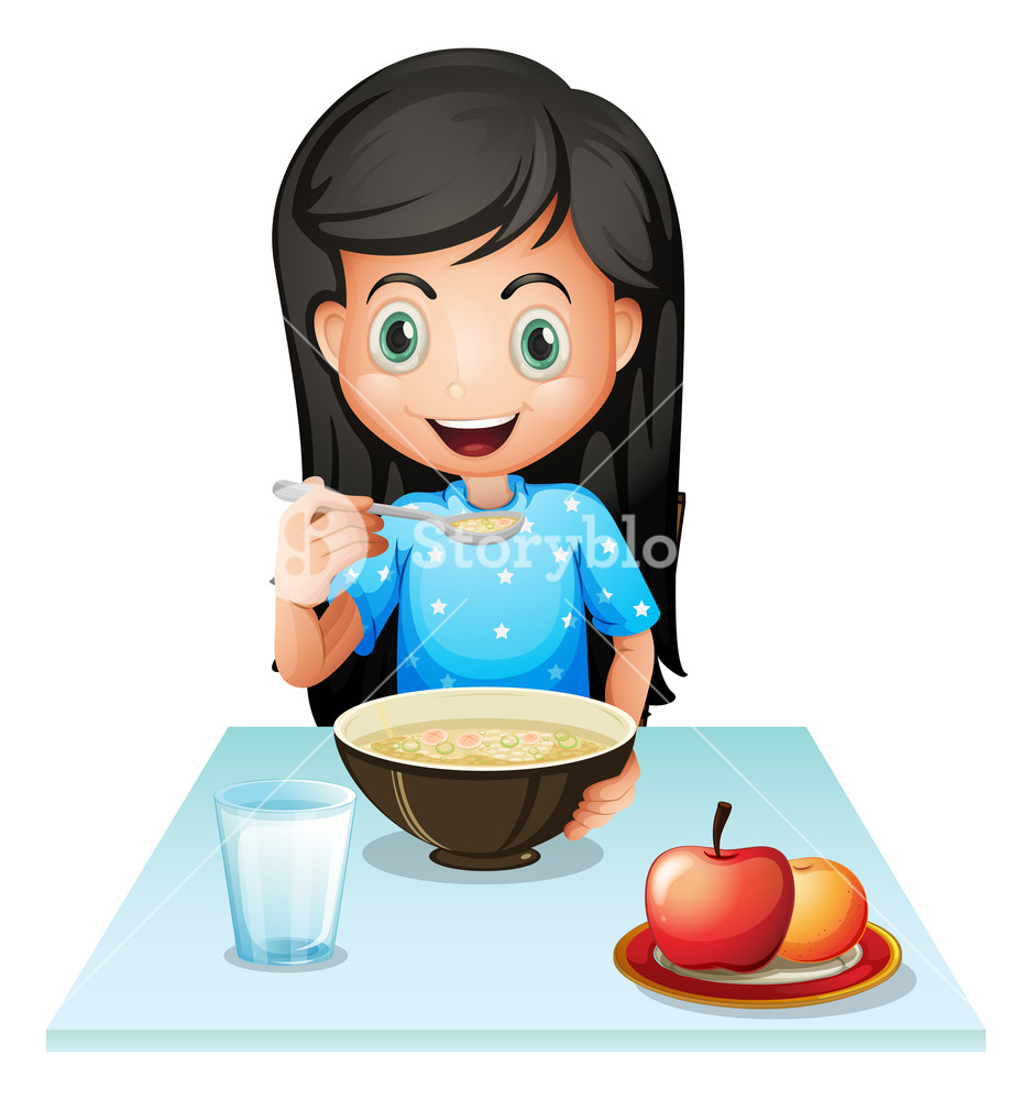 Teen breakfast clipart banner black and white download Illustration of a smiling young lady eating breakfast on a ... banner black and white download