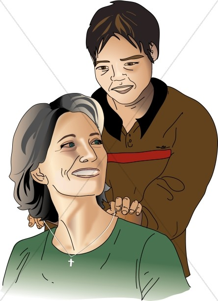 Teen mom clipart png library download Son Putting Necklace on Mother | Mother\'s Day Clipart png library download