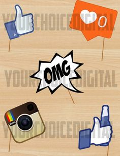 Teen party clipart facebook cover photo clip art royalty free download Social Media Backdrop, 15 PC, Social Media Photo Props, Twitter ... clip art royalty free download