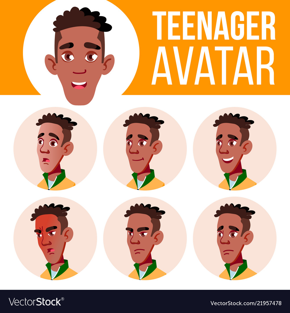Teenage boy american football clipart picture black and white stock Teen boy avatar set black afro american picture black and white stock