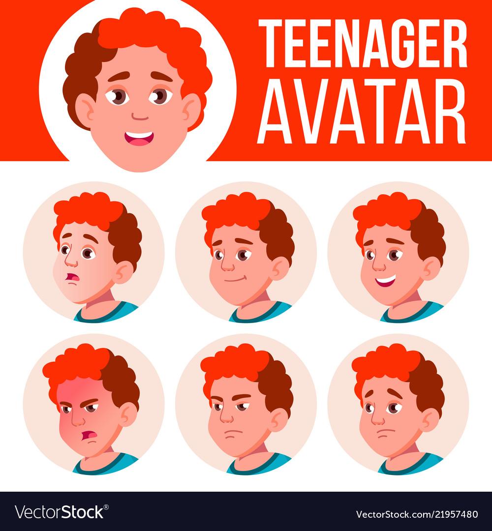 Teenage boy american football clipart free stock Teen boy avatar set face emotions free stock