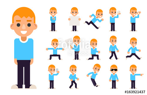 Teenage boy american football clipart free download Boy in Different Poses and Actions Teen Characters Icons Set ... free download