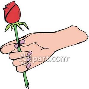 Teenage boy holding roses clipart banner royalty free library A Hand Holding a Rose Bud - Royalty Free Clipart Picture banner royalty free library