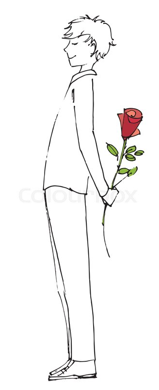 Teenage boy holding roses clipart image royalty free library Young man with red rose flower. Love ... | Stock vector ... image royalty free library