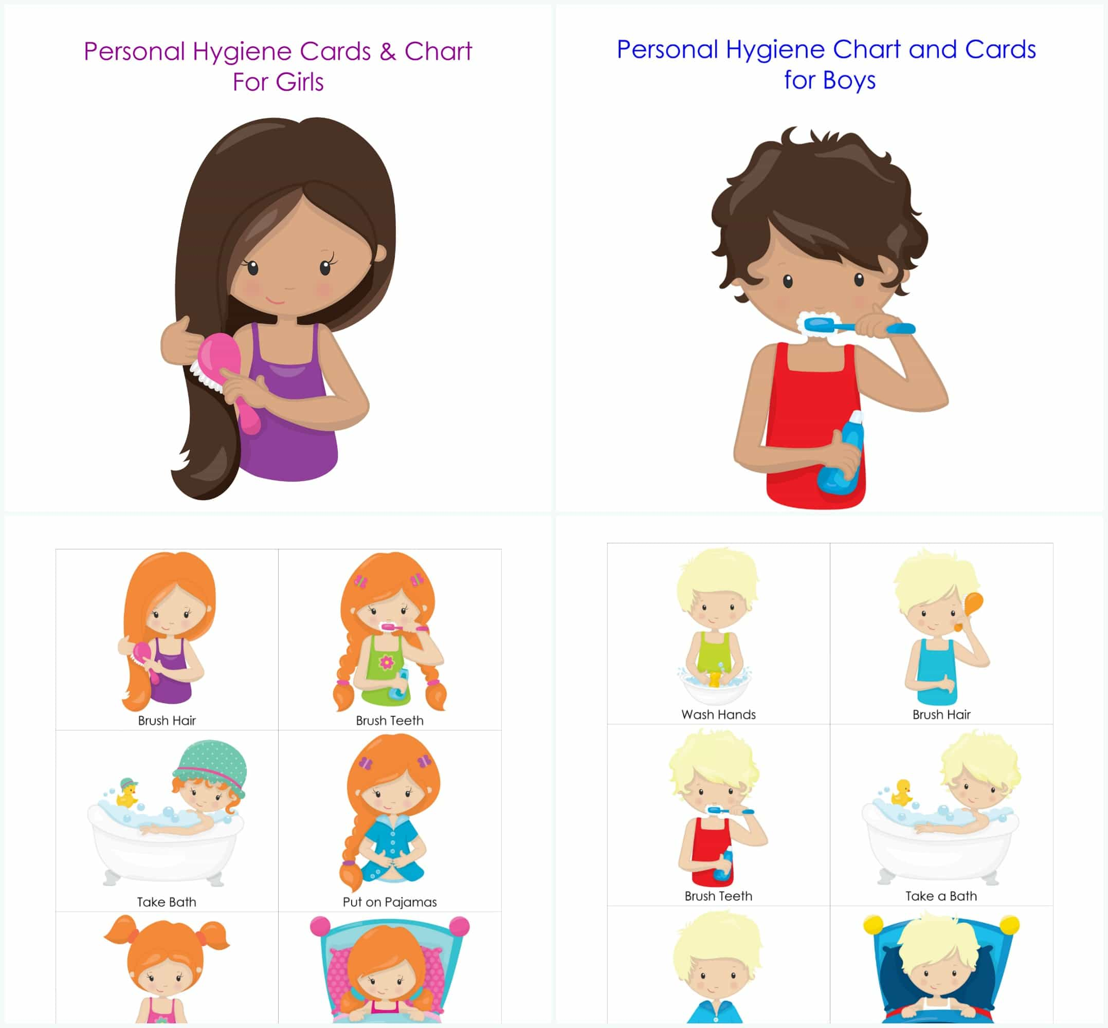 Teenage hygiene clipart graphic free Personal Hygiene and Bedtime Routine Chart and Cards for ... graphic free