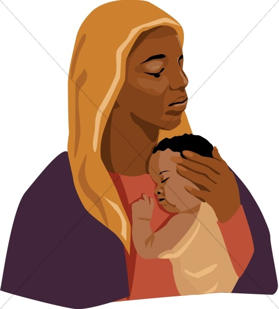 Teenage mothers clipart image stock Mother Holding Sleeping Baby | Mother\'s Day Clipart image stock