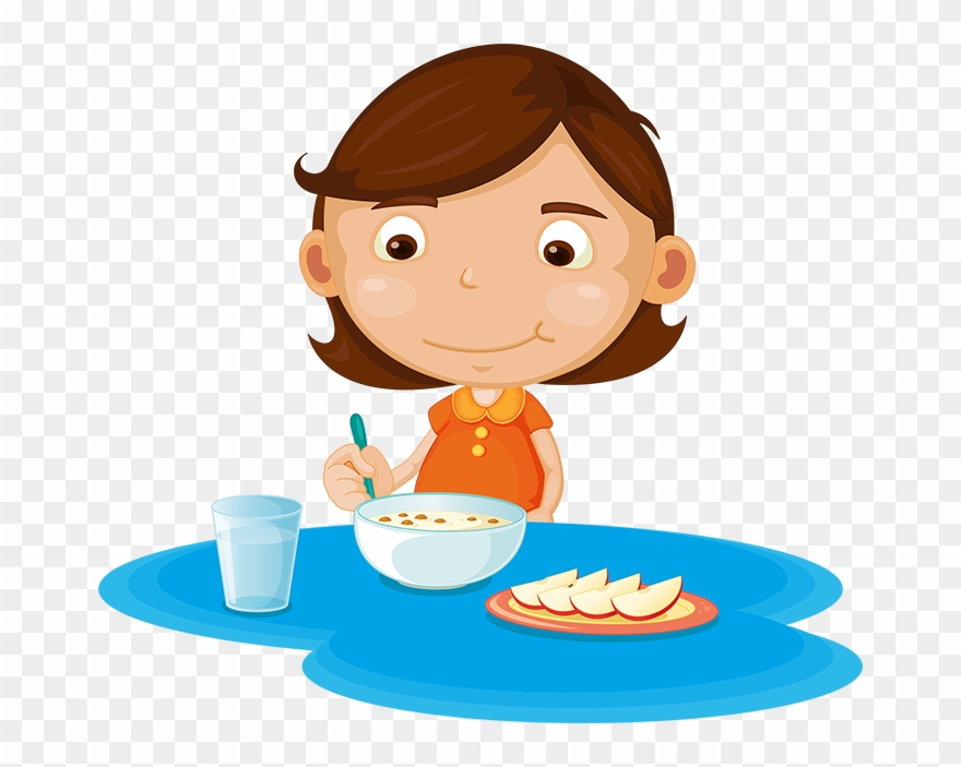 Teenager eating breakfast clipart free stock Girl Eating Cereal And Fruit - Girl Eating Breakfast Clipart ... free stock