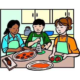 Woman preparing lunches clipart