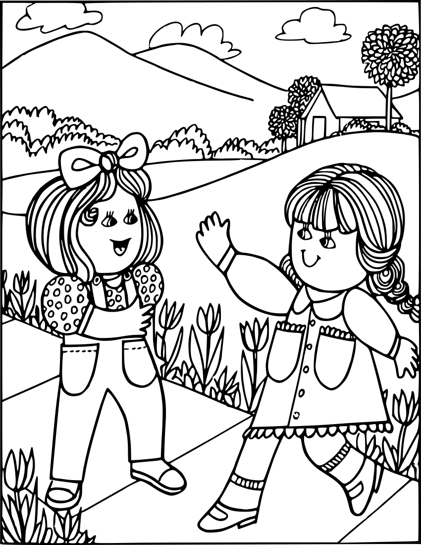 Teens saying hello to each other clipart jpg black and white library girls saying hello - /education/coloring_pages/coloring_3 ... jpg black and white library