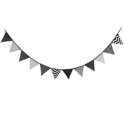 Teepee black and white clipart image royalty free download 10.5 Feet Triangle Flag Banner Bunting Pennant for Kids Teepee Tent,Party  and Room Decoration,12 Pcs Double Sided Cotton Fabric Flag by Steegic  (Black ... image royalty free download