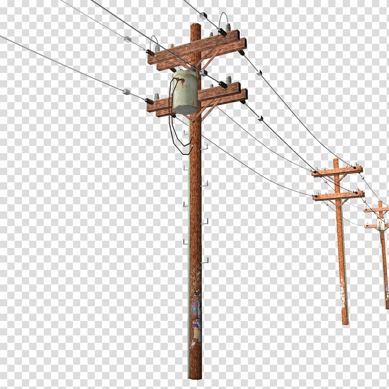 Telephone pole and wires clipart svg freeuse library Brown utility pole illustration, Utility pole Overhead power ... svg freeuse library