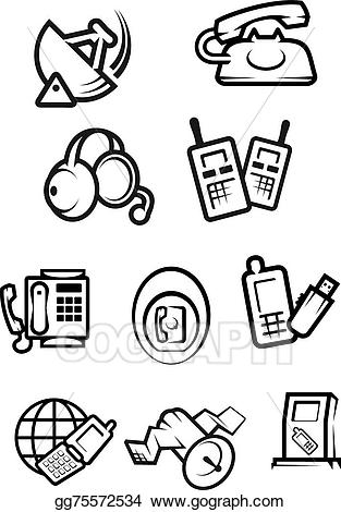 Telephone wire clipart into house clipart freeuse download Vector Art - Communication technology for home and office ... clipart freeuse download