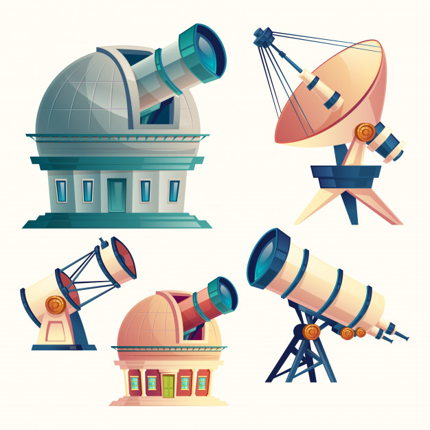 Telescope dishes clipart jpg freeuse download Set with astronomical telescopes, observatories, planetarium ... jpg freeuse download