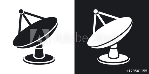 Telescope dishes clipart png royalty free library Vector satellite dish icon. Two-tone version on black and ... png royalty free library