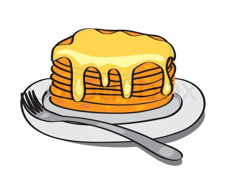 Teller mit essen clipart vector süße Pfannkuchen mit Honig auf dem Teller - vector