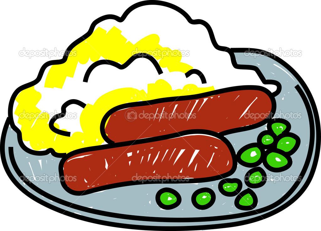 Teller mit essen clipart png freeuse Teller mit Wurst und Maische-Kartoffeln — Stockvektor © Prawny ... png freeuse