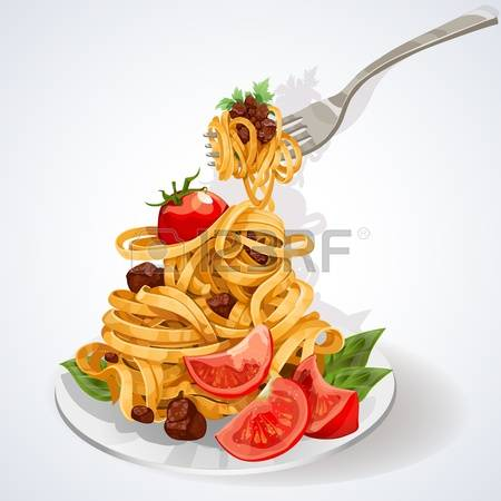 Teller mit essen clipart graphic royalty free library Pasta Mit Tomaten Lizenzfreie Vektorgrafiken Kaufen: 123RF graphic royalty free library