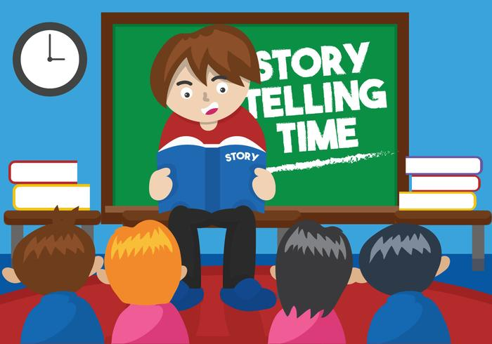 Telling kid clipart picture freeuse library Kids\' Story Telling Illustration - Download Free Vectors ... picture freeuse library