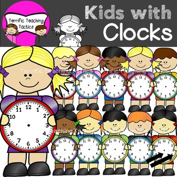 Telling kid clipart jpg transparent Kids with Clocks Clip Art (Telling Time) jpg transparent