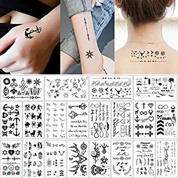 Temporary tattoo on hand clipart clip library stock 20 Sheets Fake Black Tiny Temporary Tattoo Body Sticker Hand Neck Wrist Art  Fashion clip library stock