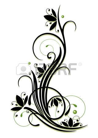 Tendril clipart clip art royalty free download Filigree and beautuful tendril with abstract flowers ... clip art royalty free download