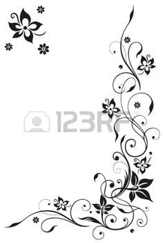 Tendril clipart picture freeuse stock Abstract, floral tendril, black vector photo | Tats ... picture freeuse stock