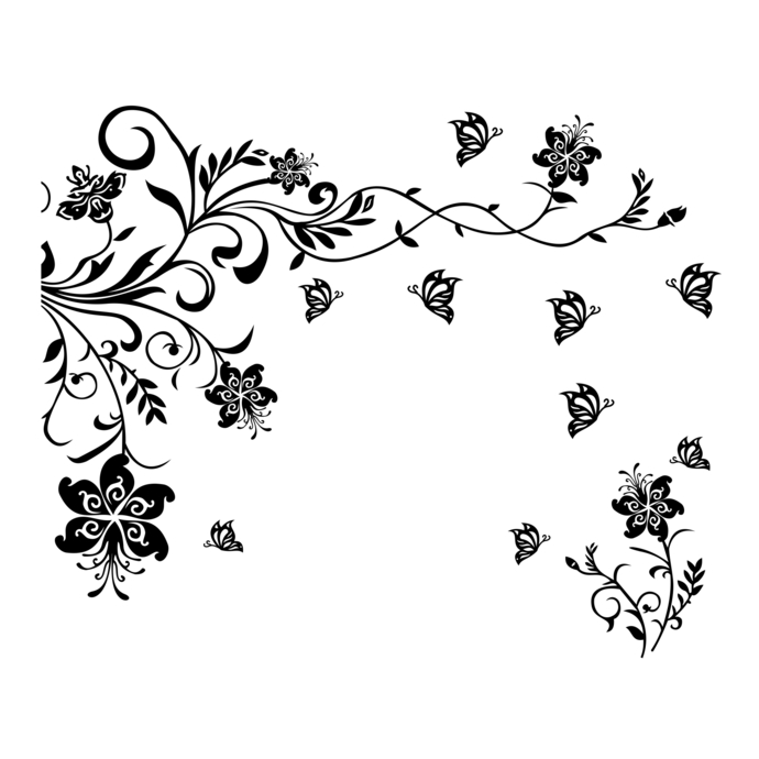 Tendril clipart banner library stock 2 part flower butterfly tendril design SVG, DXF, EPS, Png, Cdr, Ai, Pdf  Vector Art, Clipart instant download Digital Cut Files wall decal banner library stock