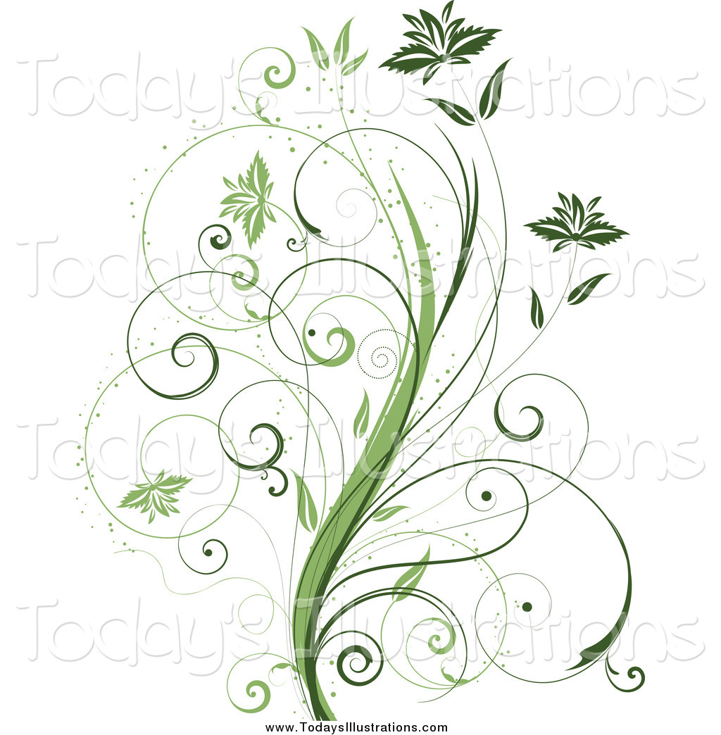 Tendril clipart vector download Clipart of a Beautiful Green Plant with Tendrils and Leaves ... vector download