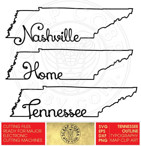 Tennessee outline clipart image black and white Tennessee Map Outline Typography Clipart SVG eps by ... image black and white