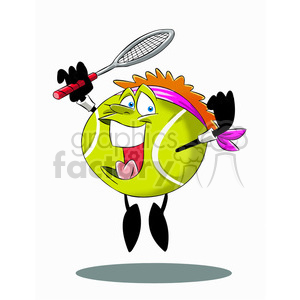 Tennis ball character cartoon clipart banner free stock terry the tennis ball cartoon character jumping with racket clipart.  Royalty-free clipart # 397463 banner free stock