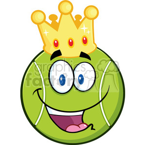 Tennis ball character cartoon clipart transparent download happy tennis ball cartoon character with a golden crown vector illustration  isolated on white clipart. Royalty-free clipart # 400184 transparent download