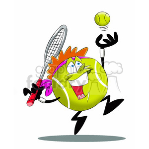 Tennis ball character cartoon clipart image library download terry the tennis ball cartoon character serving tennis game clipart.  Royalty-free clipart # 397786 image library download