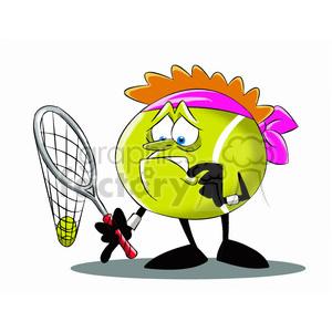 Tennis ball character cartoon clipart image royalty free stock terry the tennis ball cartoon character with broken racket clipart.  Royalty-free clipart # 397664 image royalty free stock