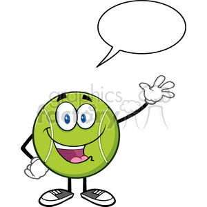 Tennis ball character cartoon clipart picture library library cute tennis ball cartoon character waving with speech bubble vector  illustration isolated on white clipart. Royalty-free clipart # 400146 picture library library