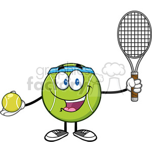 Tennis ball character cartoon clipart jpg transparent library tennis ball player cartoon character holding a tennis ball and racket  vector illustration isolated on white clipart. Royalty-free clipart # 400222 jpg transparent library