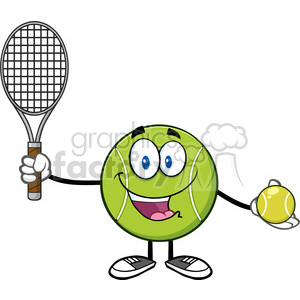 Tennis ball character cartoon clipart freeuse library cute tennis ball player cartoon character holding a tennis ball and racket  vector illustration isolated on white clipart. Royalty-free clipart # ... freeuse library