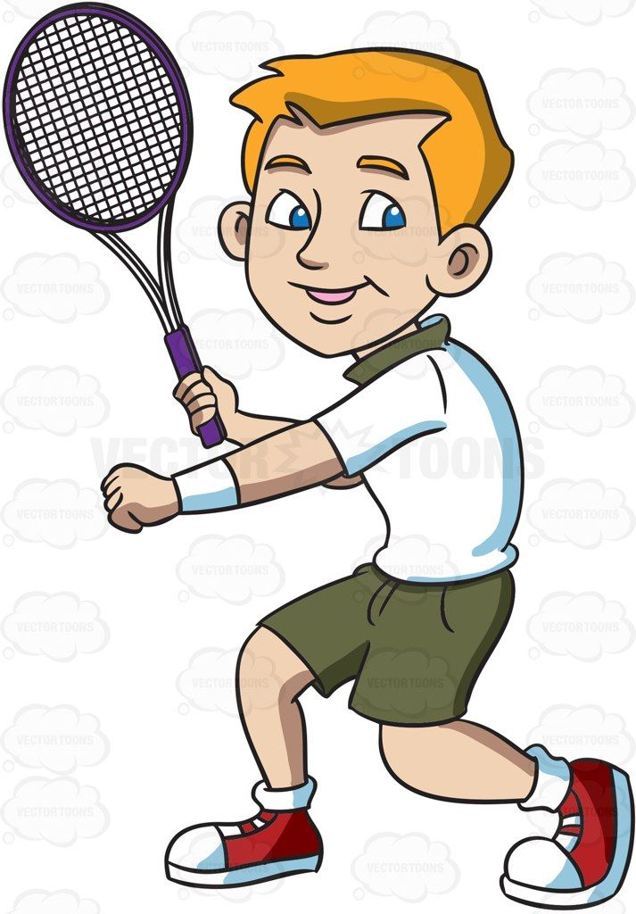 Tennis swing clipart image free library A Smiling Tennis Player Gets Ready To Hit A Forehand Winner ... image free library