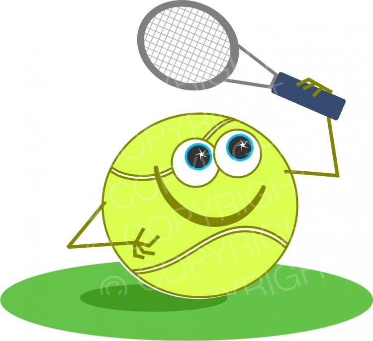 Tennis cartoon clipart graphic royalty free download Cartoon Tennis Ball with Racket Prawny Sport Clip Art ... graphic royalty free download
