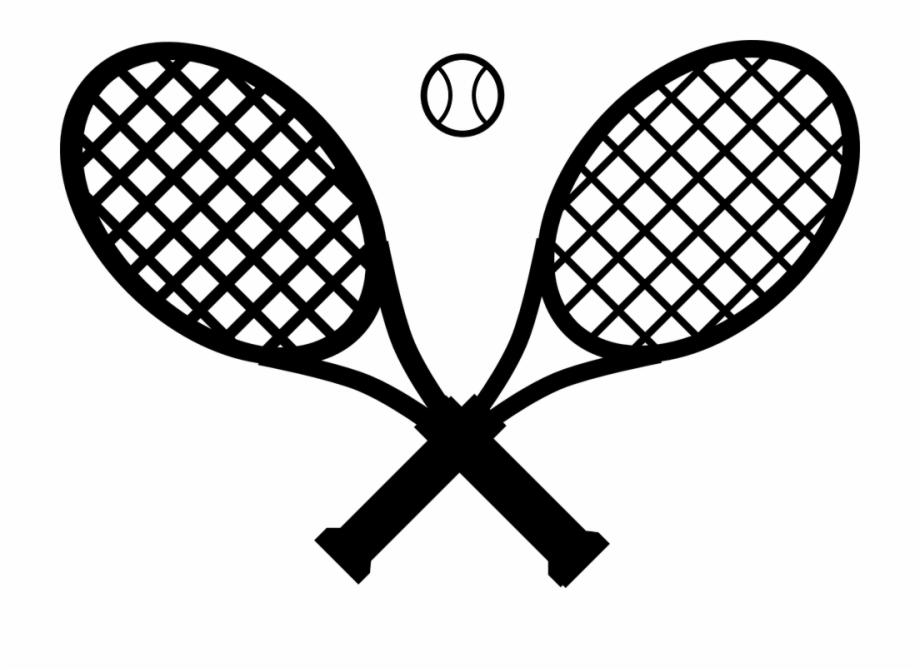 Tennis racket hitting ball clipart jpg transparent Tennis Rackets Ball Crossed Black Sport Game - Tennis Racket ... jpg transparent