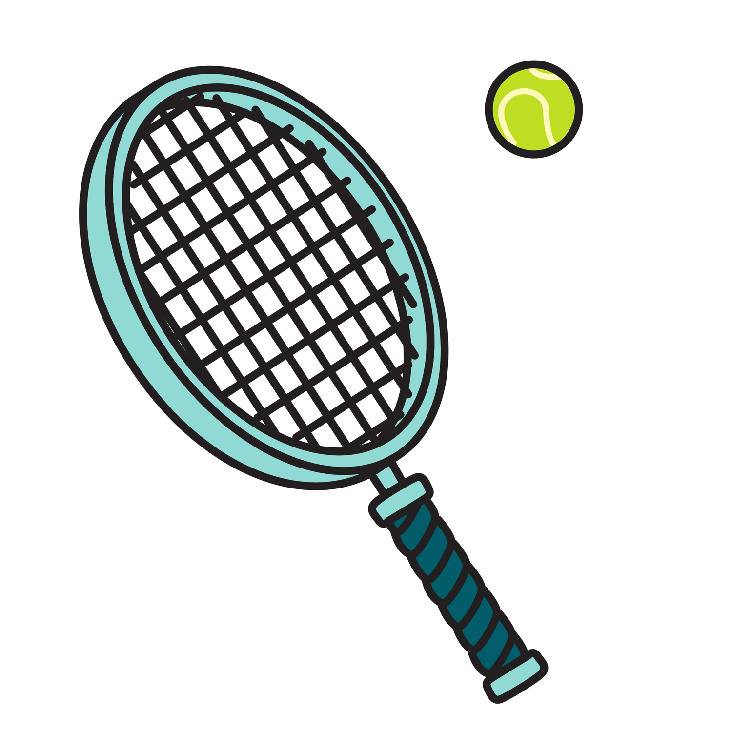 Tennis racket hitting ball clipart clipart black and white stock 14 Tennis Racket And Ball Vector Images - Tennis Racket and ... clipart black and white stock