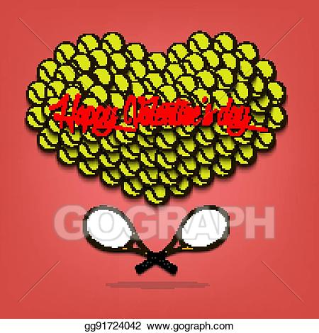Tennis valentines clipart svg royalty free stock Vector Stock - Valentine\'s day and heart from tennis balls ... svg royalty free stock