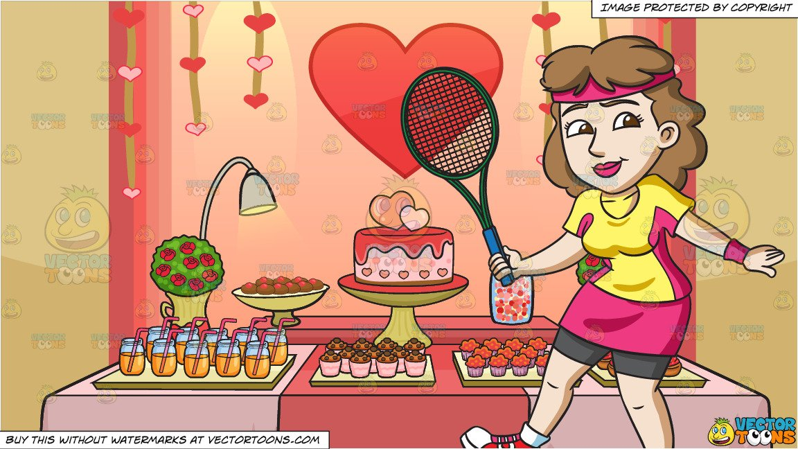 Tennis valentines clipart jpg transparent A Female Tennis Player Practices Her Swing and Valentines Day Buffet  Background jpg transparent